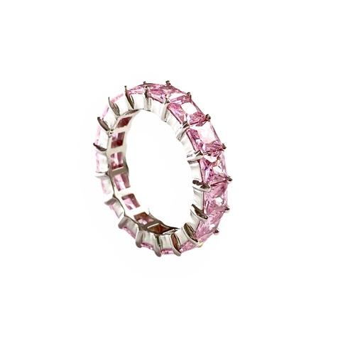 47925- Кольцо из серебра с розовыми цирконами огранки принцесса 5мм