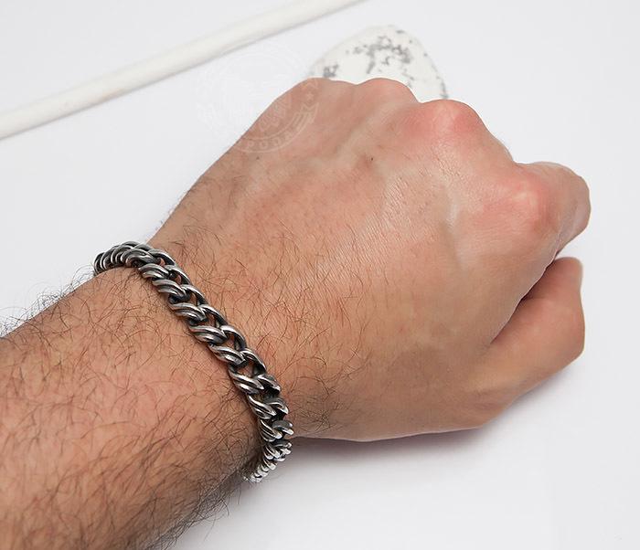 BM496 Красивый мужской браслет цепь с необычными звеньями (23 см) фото 05
