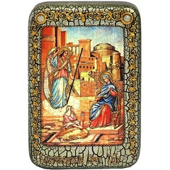 Инкрустированная рукописная икона Благовещение Пресвятой Богородицы 15х10см на натуральном дереве, в подарочной коробке
