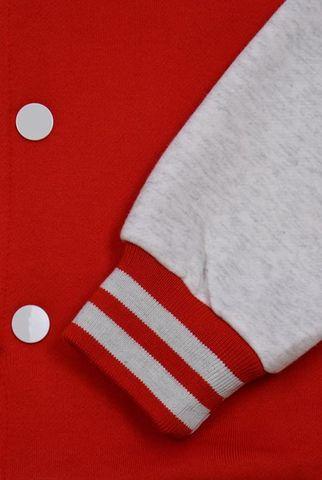 Бомбер красный с серым манжеты фото