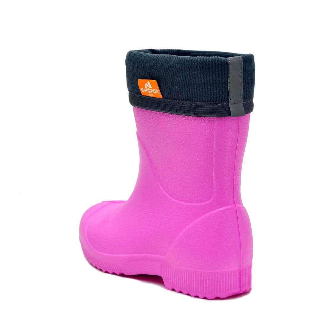 Детские резиновые сапоги из ЭВА Nordman Jet Розовые с флисовым утеплителем