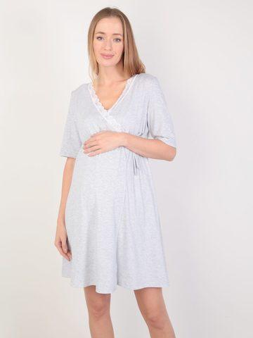 Евромама. Комплект для беременных и кормящих с коротким рукавом и кружевом, меланж серый вид 1