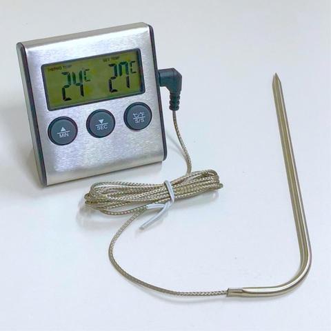Термометр кулинарный серебристый с щупом на длинном проводе и таймером (-0~ +250 градусов)