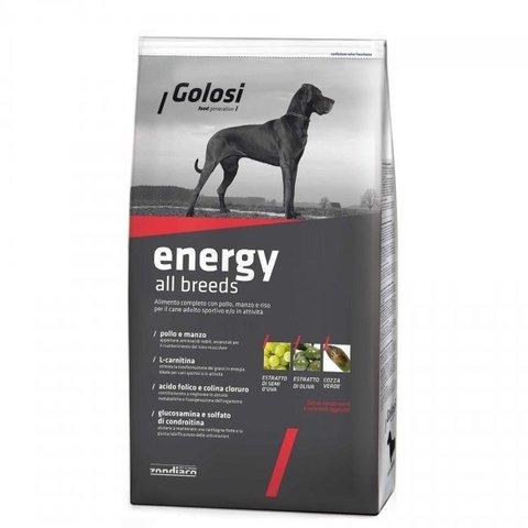Сухой корм GOLOSI ENERGY ALL BREEDS для активных взрослых собак всех пород с курицей, говядиной и рисом, 20 кг.