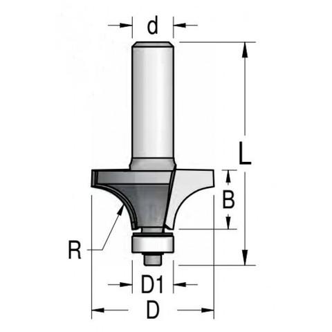 Фреза Dimar 1090075 фаска радиусная R4,8 D22,2x12,7 L55,5 подшипник, хвостовик 8_S,1 090 075