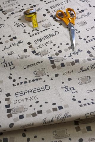 Льняная ткань с водо-отталкивающим покрытием рисунок КОФЕ