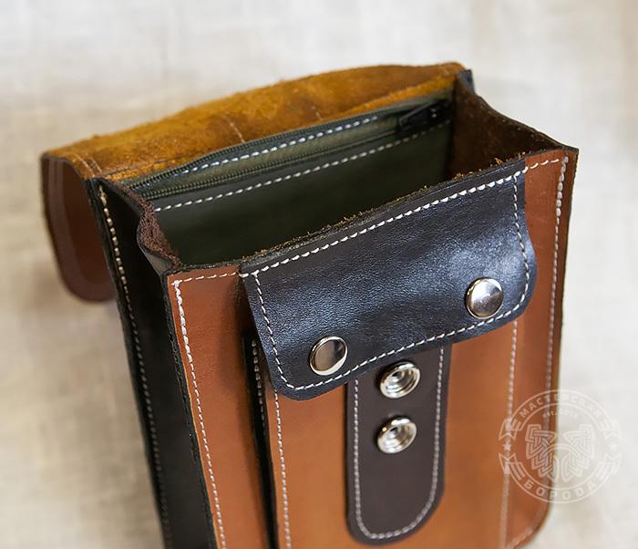 BAG379-2 Мужская кожаная сумка на пояс коричневого цвета, ручная работа фото 06
