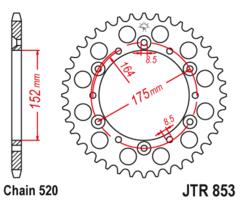 Звезда задняя JT R 853.49  Yamaha TT-R 250 TT 600 R  YZ 250