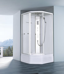 Душевая кабина Orans EW-122 100х100см.  пятиугольная, профиль белый, стекло прозрачное
