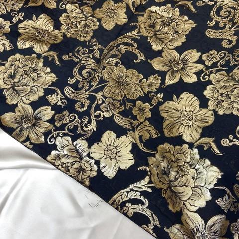 Ткань жаккард золотые цветы на чёрном 3032