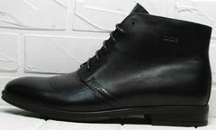 Кожаные ботинки зимние мужские черные Ikoc 3640-1 Black Leather.