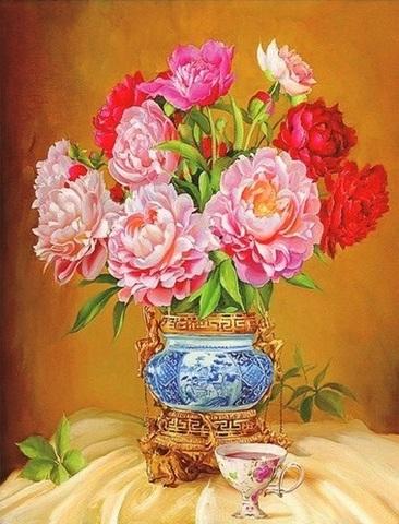Алмазная Мозаика 40x50 Пионы в вазе и чашечка чая (арт. SGA2228)