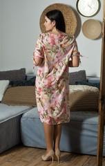 Ліна. Літнє плаття великих розмірів. Рожеві квіти