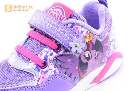 Светящиеся кроссовки для девочек Пони (My Little Pony) на липучках, цвет сиреневый, мигает картинка сбоку, 5868A. Изображение 13 из 15.