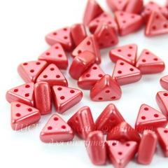 Бусина Emma Треугольник с 3 отверстиями, 6х3 мм, пастельно-кораллово-красная