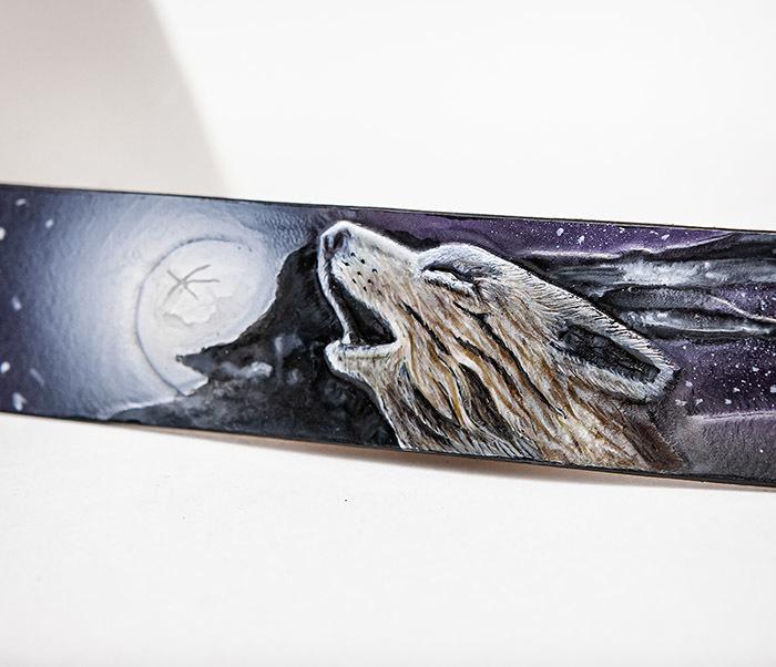 BL817 Браслет с волком и луной, ручное тиснение и раскрас фото 03