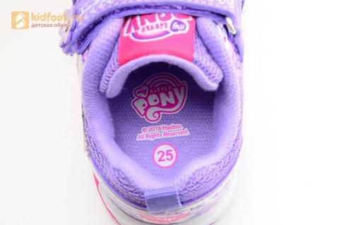 Светящиеся кроссовки для девочек Пони (My Little Pony) на липучках, цвет сиреневый, мигает картинка сбоку, 5868A. Изображение 14 из 15.
