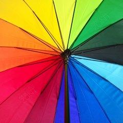 Зонт цвета радуги полуавтомат, трость с черной рукояткой