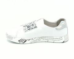 Белые кожаные кеды с декоративной резинкой