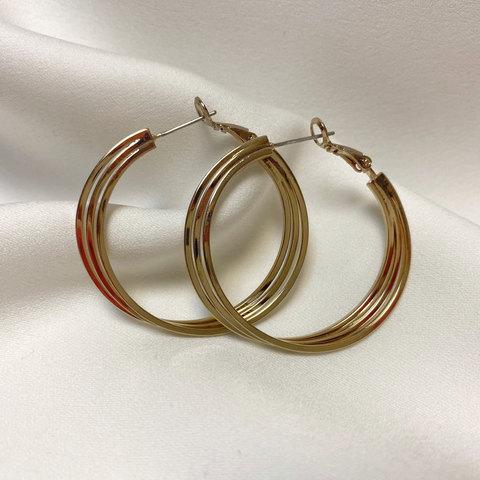Серьги-конго тройное переплет кольца брасс