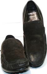 Удобные мужские туфли. Зимние мокасины с мехом Welfare 555841 Dark Brown Nubuk & Fur.