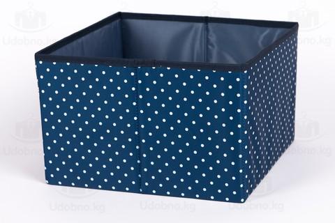 Средний короб без крышки, 29*29*19 см (темно-синий в горошек)