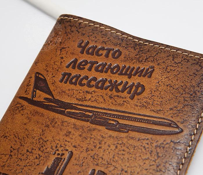 BY14-29-07 Кожаная бложка для паспорта «Часто Летающий Пассажир» фото 04