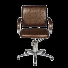 Парикмахерское кресло Калибра Люкс гидравлика хром, пятилучье хром на подпятниках