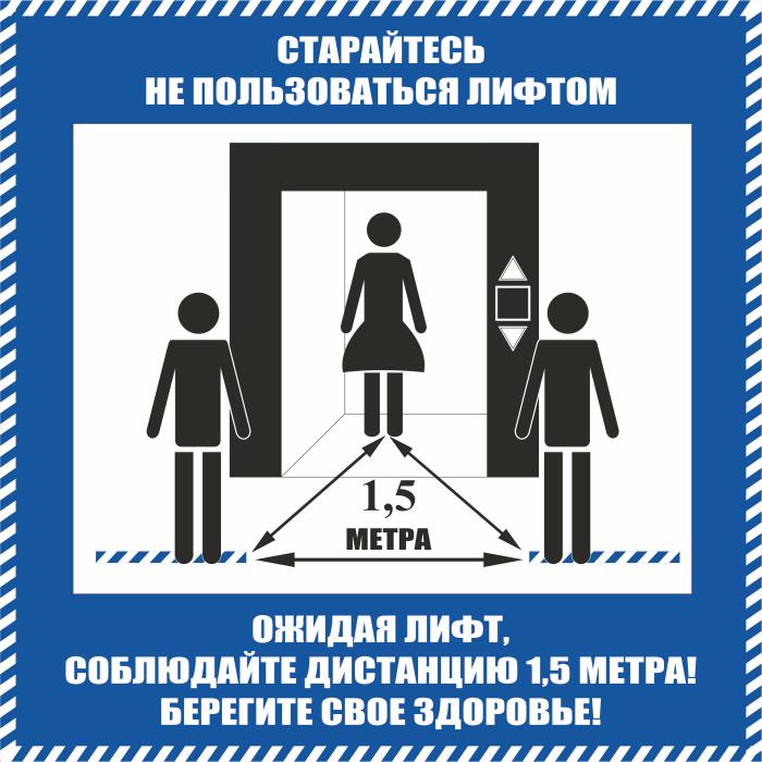 K113 Соблюдайте дистанцию 1.5 метра коронавирус - знак, наклейка