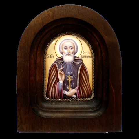 Икона финифть  прп. Сергий Радонежский деревянная арка
