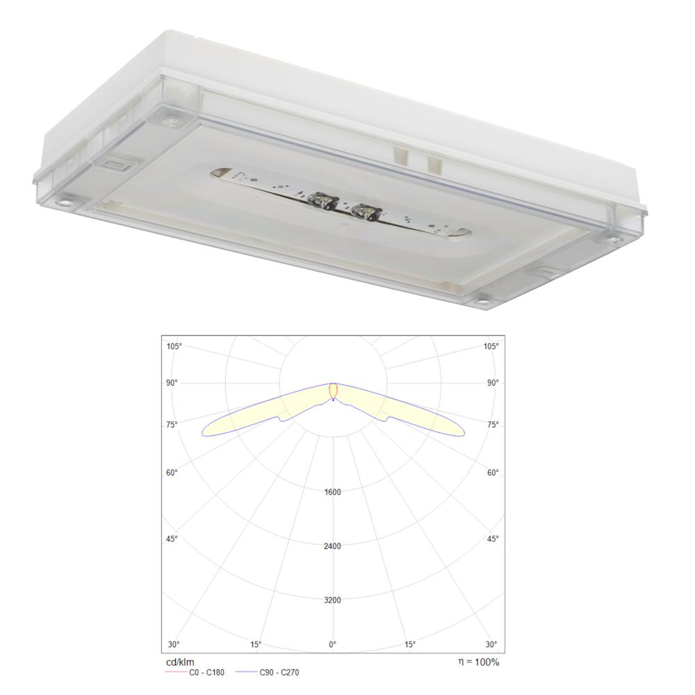 Аварийные светильники освещения промышленных помещений с оптикой для коридоров SOLID Line LOWBAY IP65 Teknoware