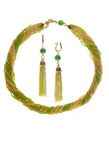 Комплект украшений зелено-золотистый (длинные серьги из бисера, бусы из бисера 24 нити)
