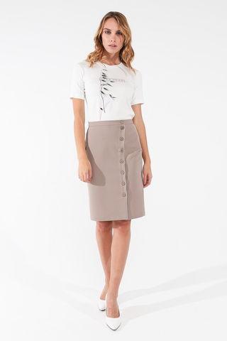 Фото прямая бежевая юбка с планкой и пуговицами - Юбка Б142-144 (1)