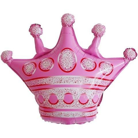 Воздушный шар фигура с гелием Корона розовая, 76 см