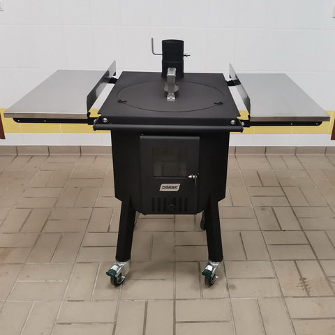 Печь для казана 17л со столиками из нержавеющей стали