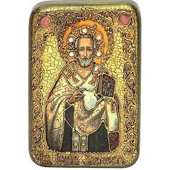 Инкрустированная рукописная икона Святитель Иоанн Златоуст 15х10см на натуральном дереве в подарочной коробке