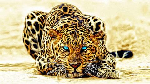 Алмазная Мозаика 20x30 Голубогразая тигрица