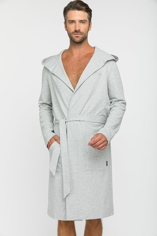Трикотажный мужской халат Sport's Idol серый 410-1 PECHE MONNAIE   Россия