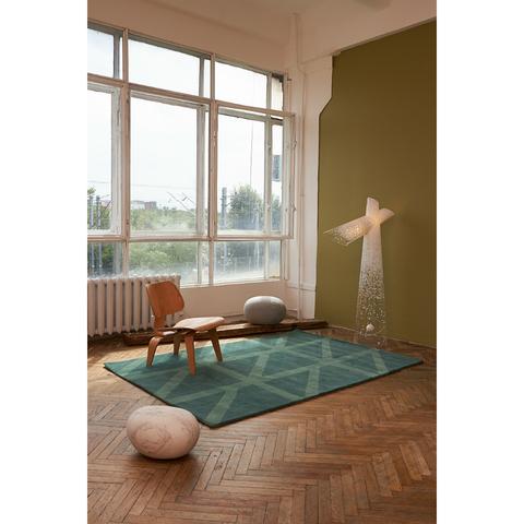 Ковер шерстяной ручной работы Geometric dance зеленого цвета, 200х280 см