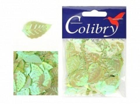Пайетки фигурные голографические Colibry. Листья 14*25 мм. Цвет 89