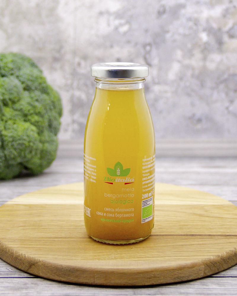 Смесь яблочного сока и сока бергамота Bioitalia 200 мл.