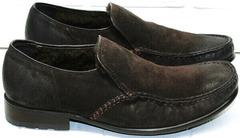 Теплые туфли мужские кожаные с натуральным мехом Welfare 555841 Dark Brown Nubuk & Fur.