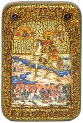 Инкрустированная икона князь Димитрий Донской 15х10см на натуральном дереве, в подарочной коробке