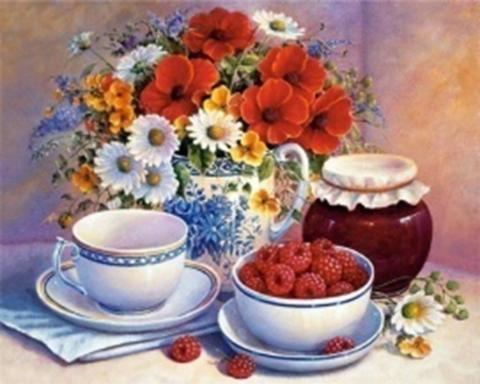 Картина раскраска по номерам 30x40 Малиновый чай и букет (арт. KTL0031)