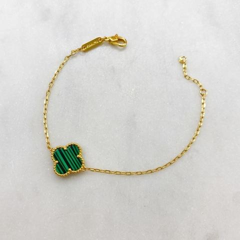 Браслет Клевер (зеленый, золотистый)