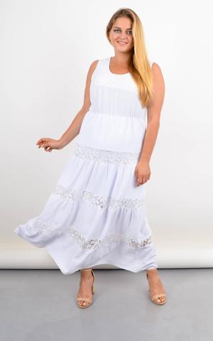 Аманда. Довга сукня-сарафан для повних з мереживними вставками. Білий.