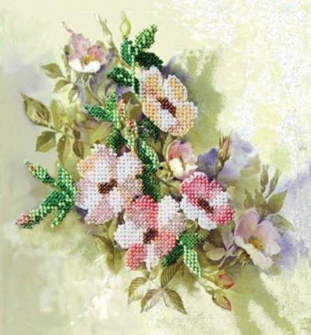 Тема: Цветы¶Техника: Частичная вышивка бисером¶Размер: 18,5х20 см¶Основа: Ткань (хлопко-льняная) с н
