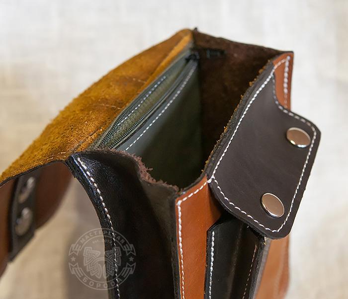 BAG379-2 Мужская кожаная сумка на пояс коричневого цвета, ручная работа фото 07