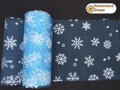 Фатин со снежинками бирюзовый ширина 15 см