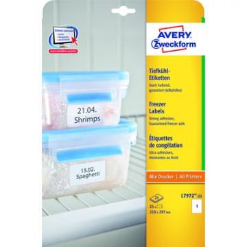 Этикетки самоклеящиеся Avery Zweckform морозостойкие белые 210x297 мм (1 штука на листе А4, 25 листов, артикул производителя L7972-25)